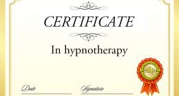 Certifcate of hypnotherapy